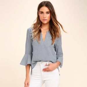 Lulus Take Me Somewhere Blue and White Striped Top